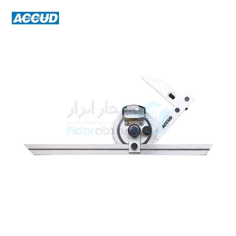 نقاله صنعتی (زاویه سنج) یونیورسال ساده 360 درجه طول خط کش 30 سانت ذره بین دار اکاد ACCUD کد ACD-815-360-01
