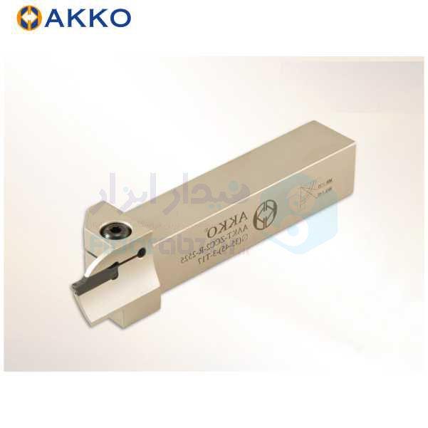 هلدر تراشکاری شیار پیشانی روتراش 25x25 برش زد سی سی 2 برای قطر 140 الی 180 حداکثر عمق برش 4 اکو AKKO کد محصول AAKT ZCC2 R/L 2525 140-180-2 T4