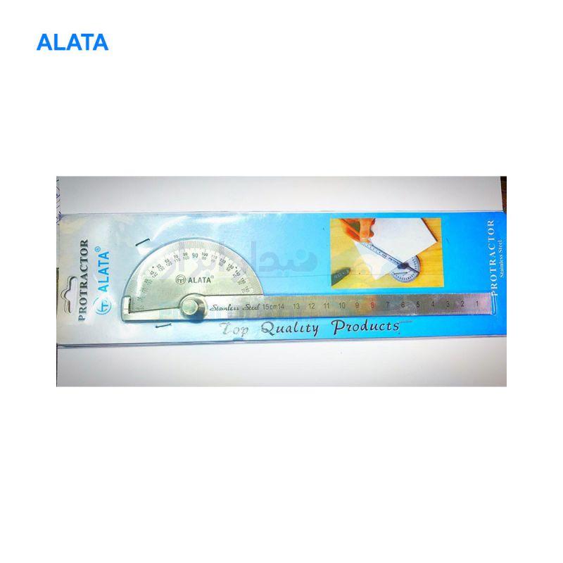 نقاله (زاویه سنج) ساده 180 درجه طول خط کش 15 سانت الاتا ALATA کد ALT-PR1