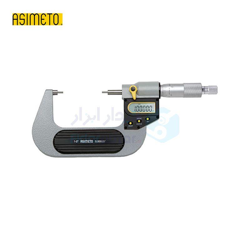 ریزسنج دیجیتال 0-25 میلیمتر فک دوپله (شیار) دقت 0.001 اسیمتو ASIMETO کد AS-118-01-2