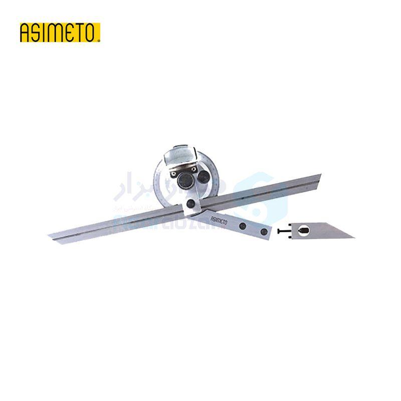 نقاله (زاویه سنج) یونیورسال ساده 360 درجه طول خط کش 20 سانت ذره بین دار اسیمتو ASIMETO کد AS-490-06-3