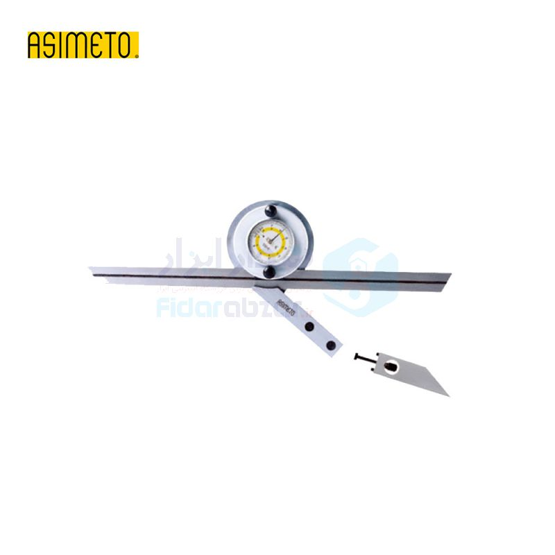 نقاله (زاویه سنج) یونیورسال ساعتی 360 درجه طول خط کش 30 سانت اسیمتو ASIMETO کد AS-490-10-0