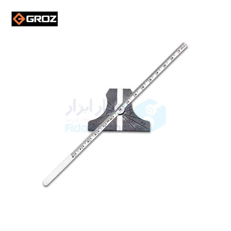 نقاله (زاویه سنج) و عمق سنج ساده 180 درجه طول خط کش 15 سانت گروز GROZ کد GRZ-DG-6