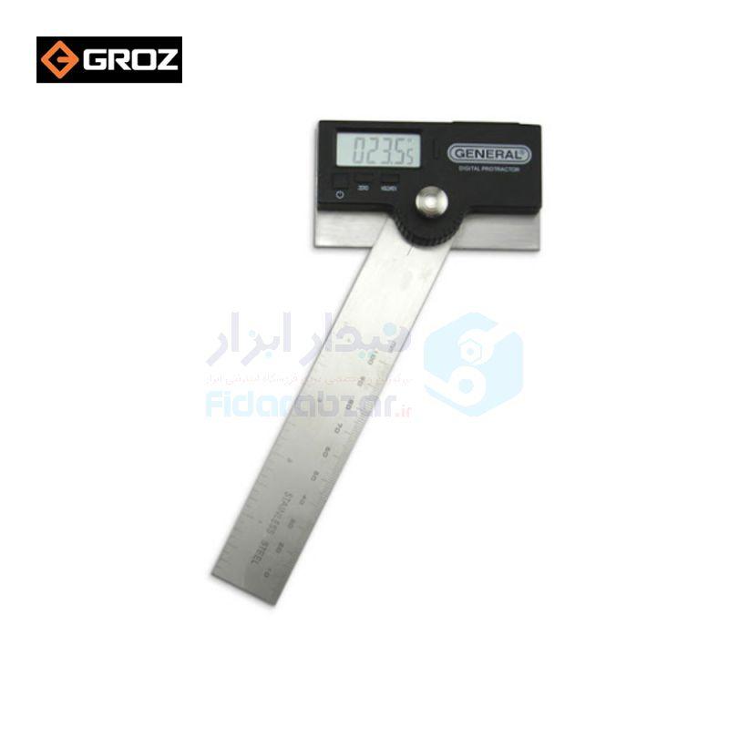 نقاله (زاویه سنج) دیجیتال 180 درجه طول خط کش 15 سانت گروز GROZ کد GRZ-GEN-1702