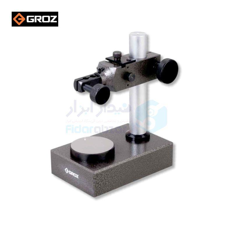 پایه ساعت آزمایشگاهی چدنی کارگیر 12 سانت عمق 8 سانت سایز سندان 6 سانت گروز GROZ کد GRZ-DCS-12RD